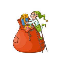 flat elf boy folding present boxes in bag vector image vector image