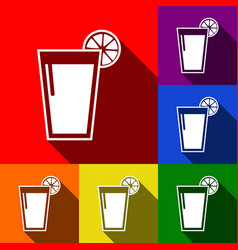 glass of juice icons set of icons with vector image