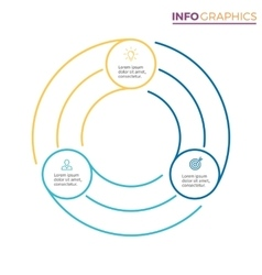 Linear infographics chart with 3 steps options vector
