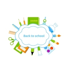 School bubbles with supplies design vector image