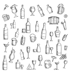 Cocktails and alcohol beverages with snacks icon vector image