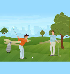 group golfers friends characters on green vector image vector image