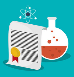 science test tube certificate atom school vector image