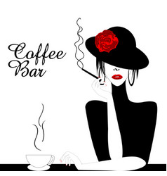 coffee bar with woman smoking cigarette vector image