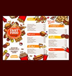 fast food restaurant menu brochure template design vector image vector image