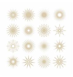 geometrical poly gram beige stars icons set vector image vector image