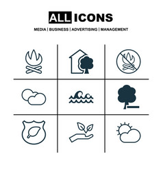 Set of 9 eco icons includes house cloud cumulus vector