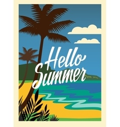 Summer beach and palm trees vector image vector image