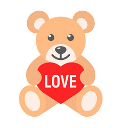 teddy bear with heart flat icon valentines day vector image vector image