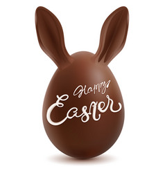 happy easter chocolate egg with rabbit ears vector image vector image