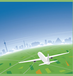 Las vegas skyline flight destination vector