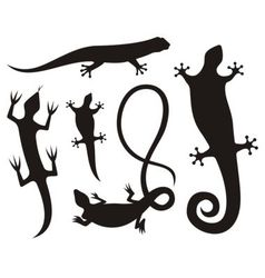 lizard silhouettes vector image vector image