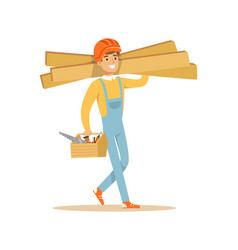 smiling carpenter carrying box of tools and wooden vector image