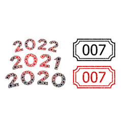 007 grunge badges with notches and 2020 - 2021 arc vector