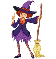 A witch holding a broom vector image
