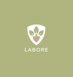 Abstract shovel leaf logo design organic farm vector