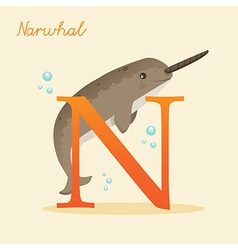 Animal alphabet with narwhal vector image