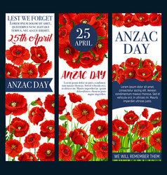 Anzac day lest we forget banner with poppy flower vector