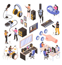 Audio studio isometric set vector