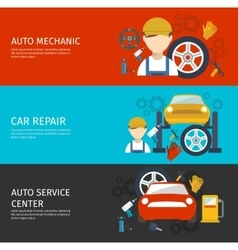 Auto Mechanical Service Horizontal Banners Set vector