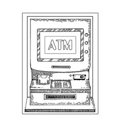 automated teller machine engraving style vector image