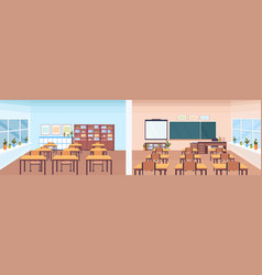 Back and front view modern school classroom vector