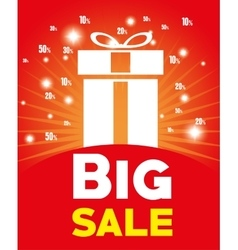 Big sale big gift light red background vector