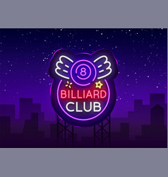Billiard club neon sign design template bright vector