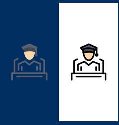 Cap education graduation speech icons flat and vector
