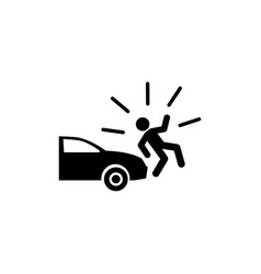 Car knock down pedestrian flat icon vector