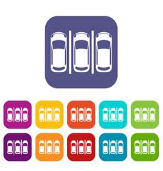 Car parking icons set vector