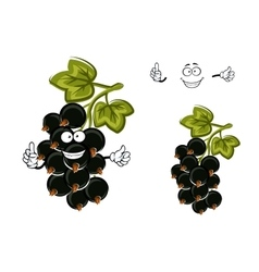 Cartoon black currant fruit with berries vector image