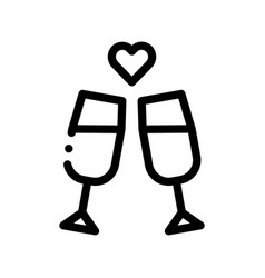 champagne glasses wedding ceremony icon vector image