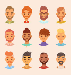 character various bearded man face avatar fashion vector image