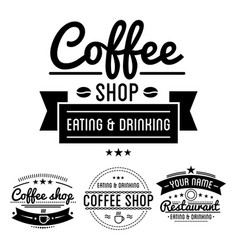 coffee shop logos with steamy cup linear icon and vector image