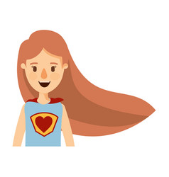 Colorful caricature half body super woman with vector