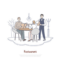 couple dating in restaurant boyfriend vector image