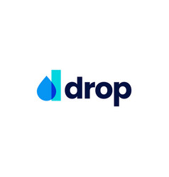 d letter drop droplet overlapping color logo icon vector image