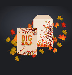 design envelope card and autumn leaves it can be vector image