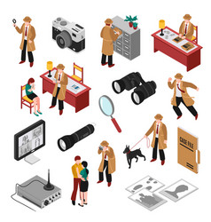 Detective isometric set vector