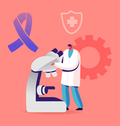Doctor in white medical robe looking in electronic vector