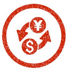 Dollar yen exchange rounded grainy icon vector