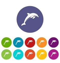 Dolphin set icons vector