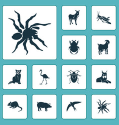 fauna icons set with bug mouse beetle and other vector image