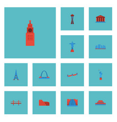 Flat icons paris china bridge and other vector