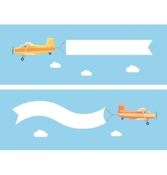 flying vintage plane with advertising banner vector image