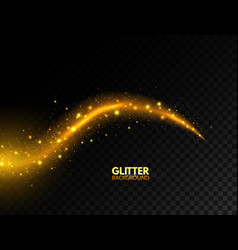 glowing golden wave glitter gold curved lines vector image