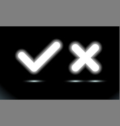 Glowing white lamp checkmark and crosshair led vector