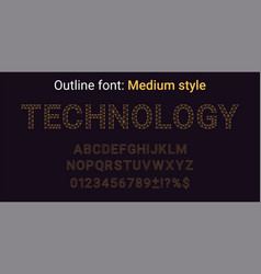 golden handmade font in the outline style vector image