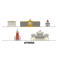 greece athens flat landmarks vector image